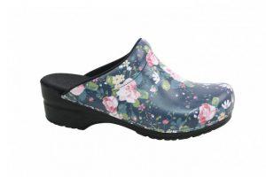 Sanita klompen Flod blauw 472047 met bloemen