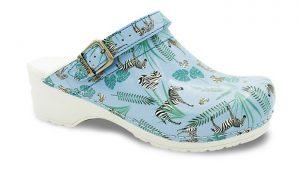 Sanita klompen Flex model 38 Animal Zebra blauw met riempje 8698 kopen