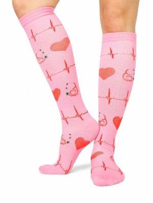 MedSocks compressie sokken Liefde voor de zorg roze